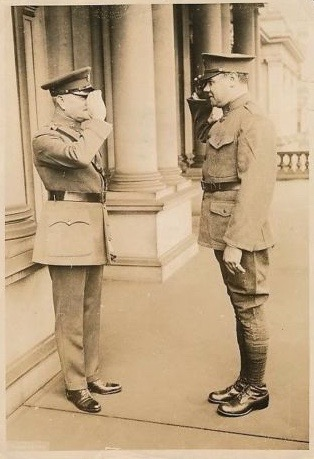 General Pershing and Private Ruth exchange salutes, 28 May 1924