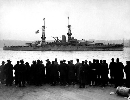 The USS Arizona docking at the 96th Street pier, Thursday 26 December 1918