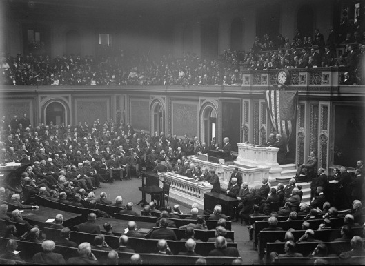 President Wilson speaks to Congress on 3 February 1917 announcing the severing of relations with Germany