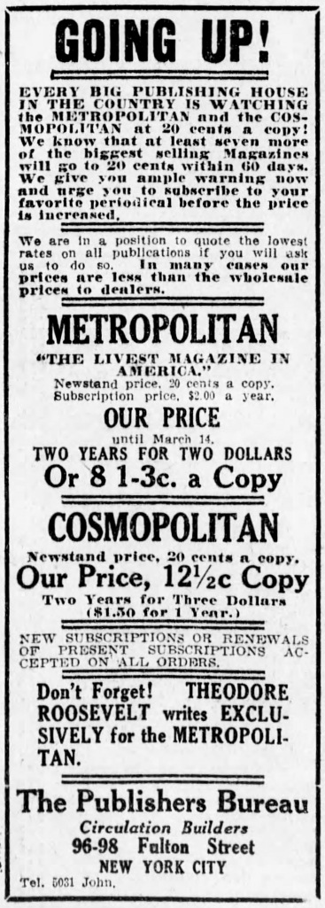 Metropolitan Magazine advertisement, Brooklyn Daily Eagle Feb 18 1917