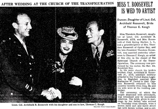 The New York Times captured the June 1945 wedding of Theodora Roosevelt.