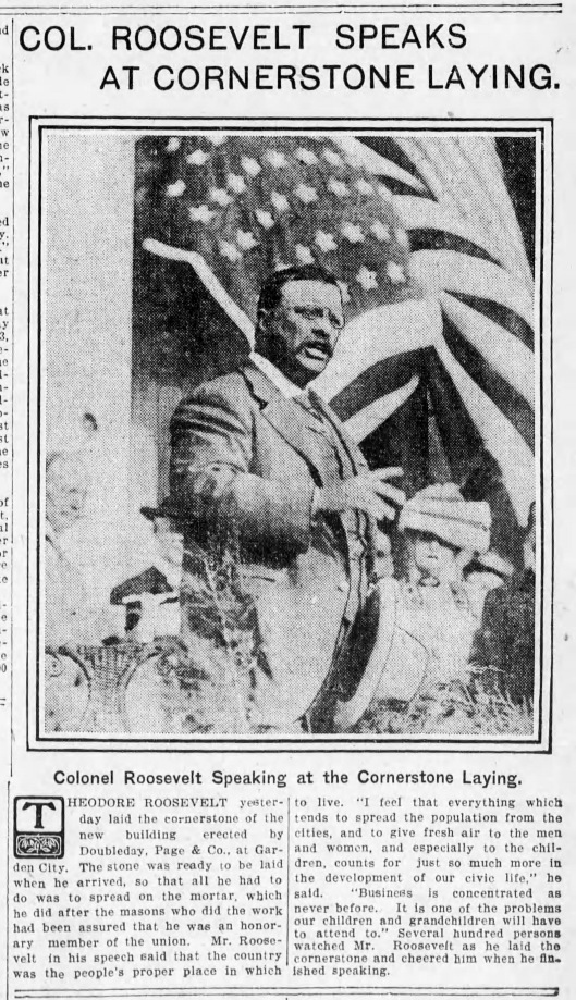 Roosevelt at Doubleday, Brooklyn Daily Eagle 20 Aug 1910
